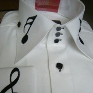 Axxess Embroidered Musical Note High Collar Shirt